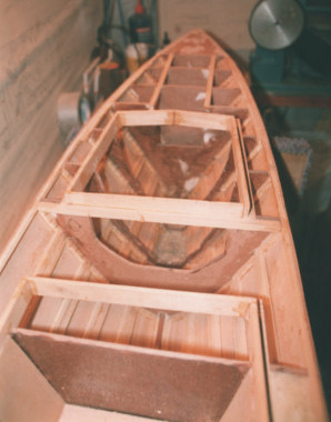 The forward section of the model, showing the bow compartments